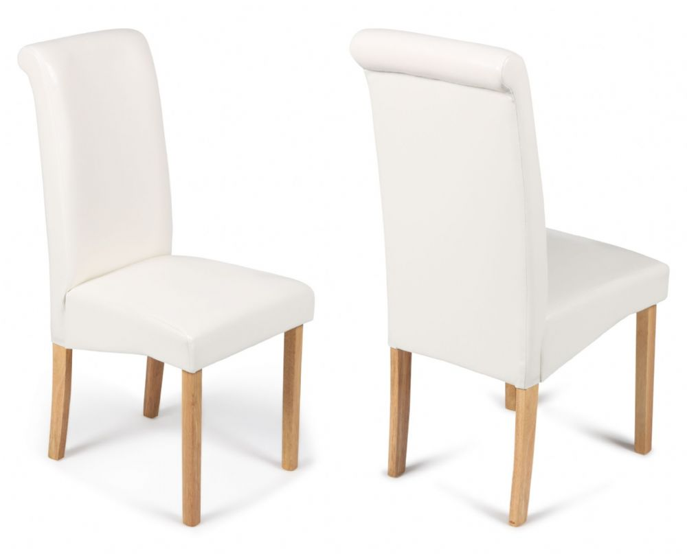 Roma Ivory White Dining Chairs With Oak Legs 1 2 Price
